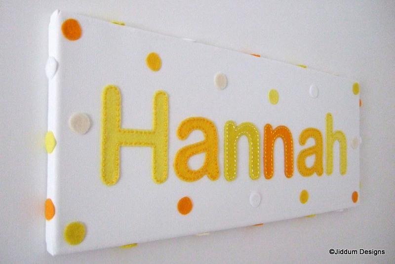Baby Girl or Boy's Lemon Personalised Handstitched Name Canvas