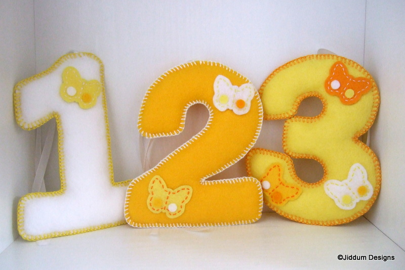 Lemon Butterfly Felt Number Decorations